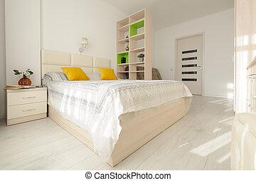 stort, dubbel, inre, säng, sovrum