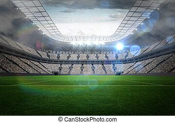 stort, fotboll, stadion, med, lyse