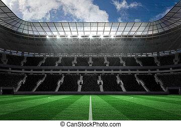 stort, fotboll, stadion, med, tom, står