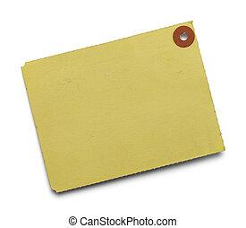 stort, gul, etikett