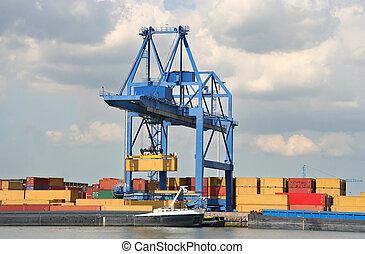 stort, hamn, kran