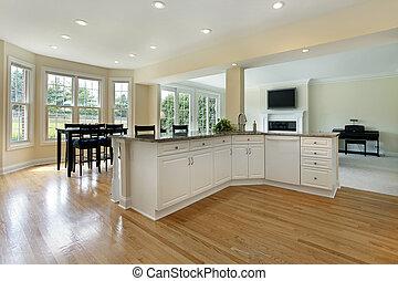 stort, hem, remodeled, kök