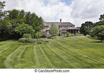 stort, hem, tegelsten, gård, baksida