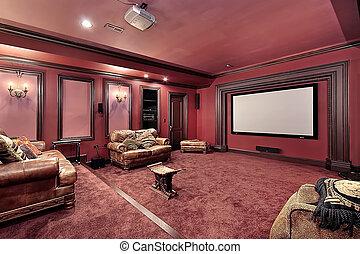 stort, hem- theater, lyxvara