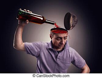 stort, hoofd, zijn, alcohol, man