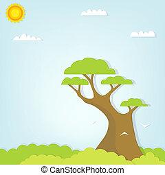 stort, jättehög slut, träd skog