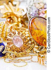 stort, kollektion, av, guld, smycken