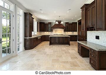 stort, konstruktion hemma, kök, färsk