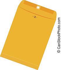 stort, kuvert, gul