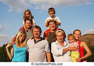 stort, lycka, familj
