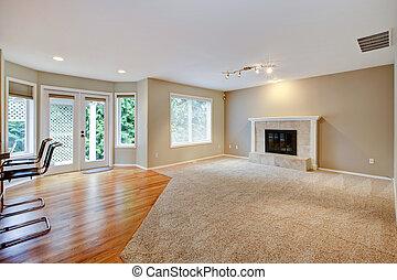 stort, lysande, tom, färsk, vardagsrum, med, fireplace.
