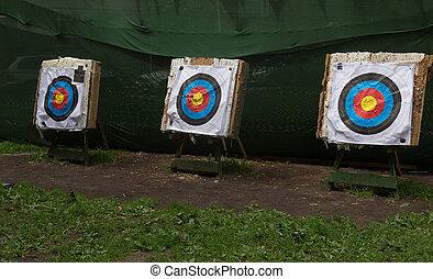 stort, mål, tre, bågskytte, tankstreck