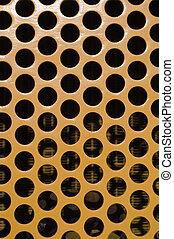 stort, mönster, hål, gul, vertikal