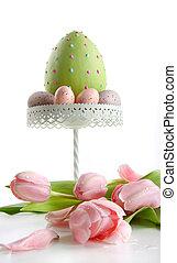 stort, påsk egga, med, rosa, tulpaner