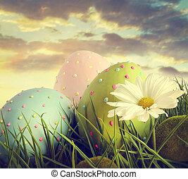 stort, påsk eggar, in, den, långt gräs