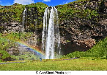 stort, regnbåge, dekorerar, a, tappa av bevattnar