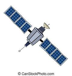 stort, satelite, utrymme