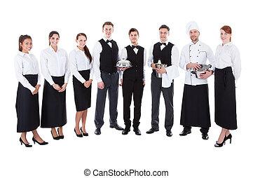 stort, servitriser, grupp, servitörer