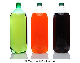 stort, soda, flaskor, vita