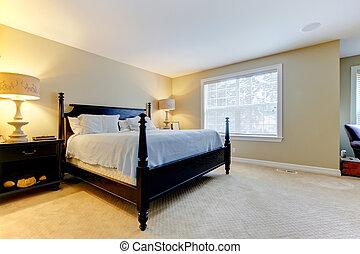 stort, sovrum, bed., mörk, beige, lare, interior.