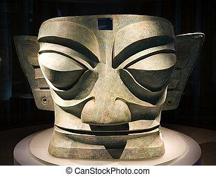 stort, tre, tusen, gammalt år, brons, maskera, staty,...