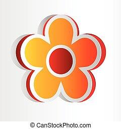 stort, tredimensionell, blommig