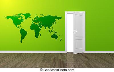 stort, vägg, trä, grön, oppen, dörr, golv