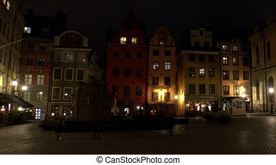 Stortorget Public Square in Stockholm. Sweden. Night, lights
