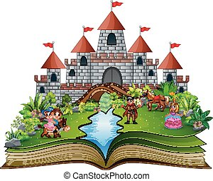 Story book with cartoon princesses and princes in front of a castle