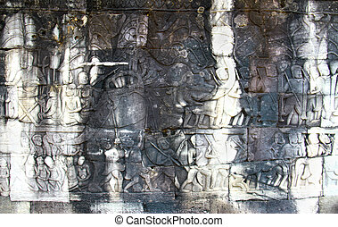 story carved on the wall of Angkor Wat