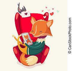 Story of a fox thinking of his girlfriend. - Vector card...