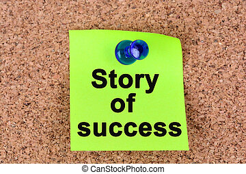 Story of success words on notes