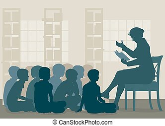 EPS8 editable vector illustration of a female teacher reading a story to her pupils sitting on the floor