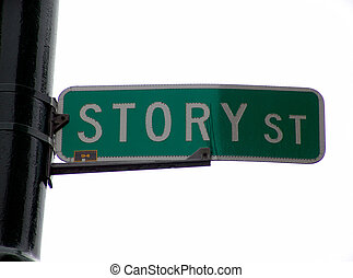 Story Street Sign - street sign at the corner of story...
