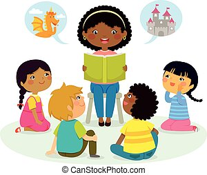 story time – multicultural group - black teacher reading a...