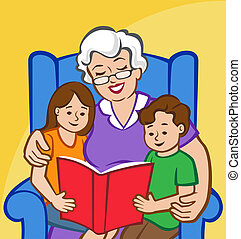 Illustration of a Grandmother reading to a young boy and girl.