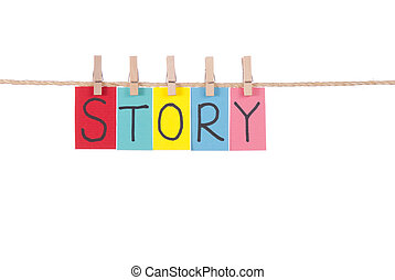 Story, Wooden peg and colorful words series on rope
