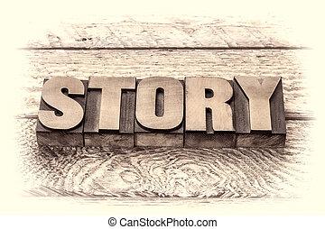 story word in vintage letterpress wood type