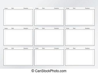 storyboard, modelo, escarneça, x, 9