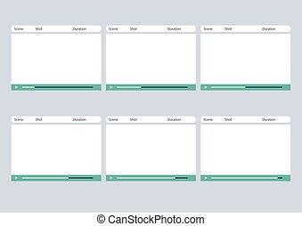 storyboard, semplice, cornice, giocatore, video, sagoma, 6