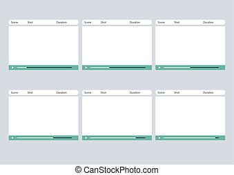 storyboard, simple, cadre, joueur, vidéo, gabarit, 6