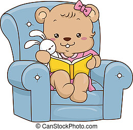 Storybook Bear - Illustration of a Cute Baby Bear Reading a...