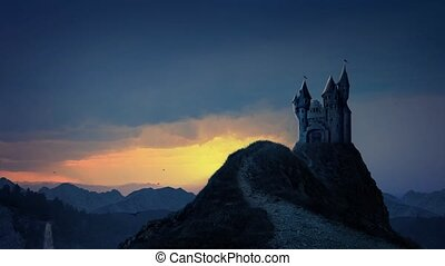 Storybook Castle At Sunrise - A hilltop castle sits high in...