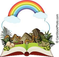 storybook, montanha, arco íris
