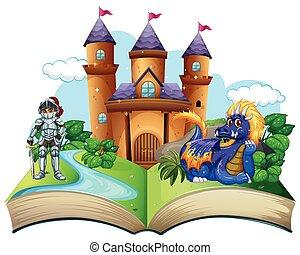 storybook, ridder, draak