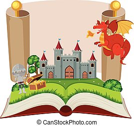 Storybook with knight and castle