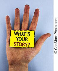 storytelling, テキスト, 黄色, 付せん, を過ぎて, あなたの, 何か, 個人的, メモ, バックグラウンド。, 書かれた, 写真, 概念, 提示, question., 物語, 手, 経験, 言うこと, 印, 平野, 置かれた