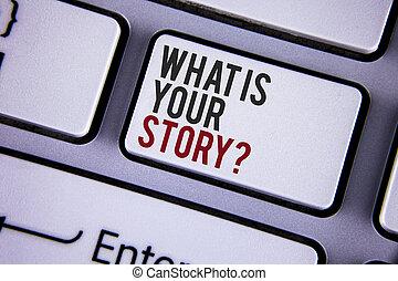 storytelling, 写真, を過ぎて, キーボード, ビュー。, あなたの, 何か, 個人的, 上, 執筆, メモ, 書かれた, 白, ビジネス, 提示, question., 物語, space., 経験, キー, 言うこと, コピー, showcasing