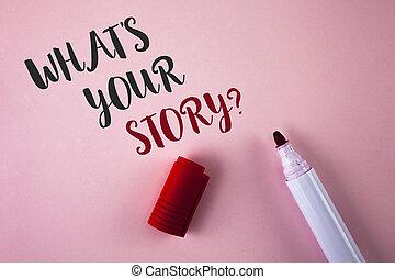 storytelling, 写真, を過ぎて, マーカー, 執筆, あなたの, ピンク, 何か, 個人的, 次に, 書かれた, 概念, it., ビジネス, 提示, question., 物語, 手, 経験, 背景, 言うこと, 平野, showcasing