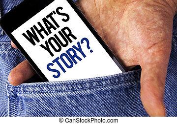 storytelling, 写真, ジーンズ, を過ぎて, あなたの, 何か, 個人的, 執筆, メモ, バックグラウンド。, 書かれた, 保有物, スクリーン, ビジネス, 提示, question., 物語, 電話, 経験, 言うこと, 人, モビール, showcasing